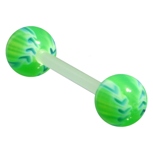 Bioplast Green Blazing Baseball Barbell Tongue Ring