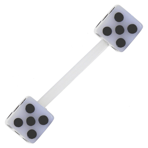 Bioplast White Dice Barbell Tongue Ring