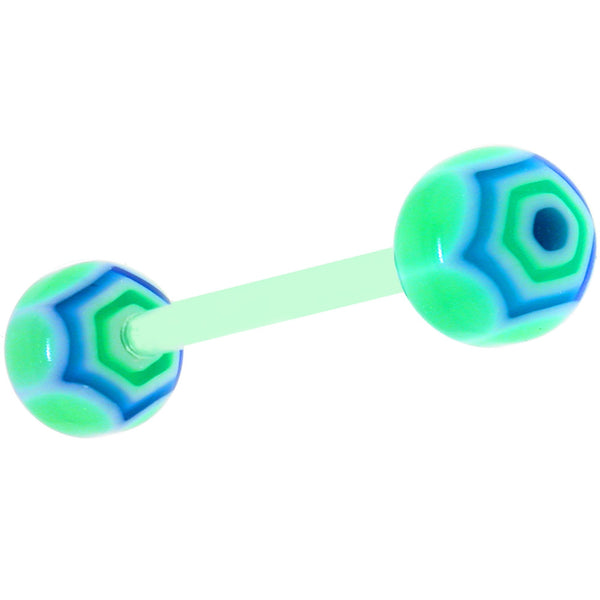 Bioplast Lime Blue Maracas Barbell Tongue Ring