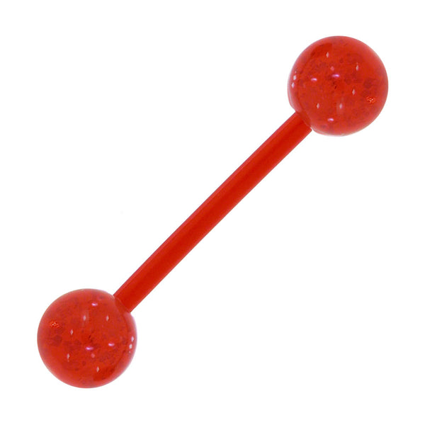 Bioplast Red Glitter Barbell Tongue Ring