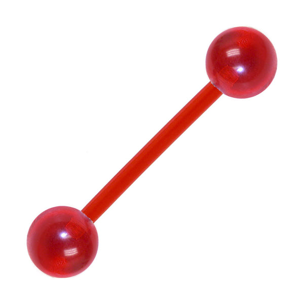Bioplast Ny Apple Red Barbell Tongue Ring