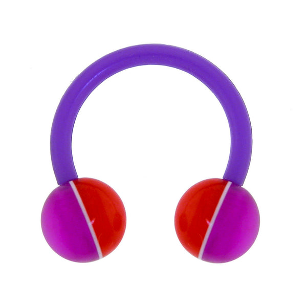 14 Gauge 3/8 Purple Red Streak Bioplast Horseshoe Circular Barbell