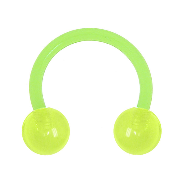 "14 Gauge 3/8"" Green Glow In The Dark Bioplast Circular Horseshoe"