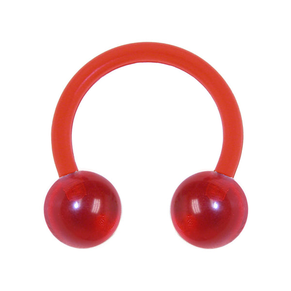 14 Gauge 3/8 NY Apple Red Bioplast Horseshoe Circular Barbell