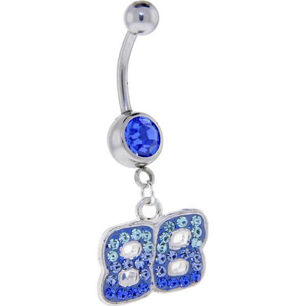 Blue Gem 88 Cubic Zirconia Dangle Belly Ring