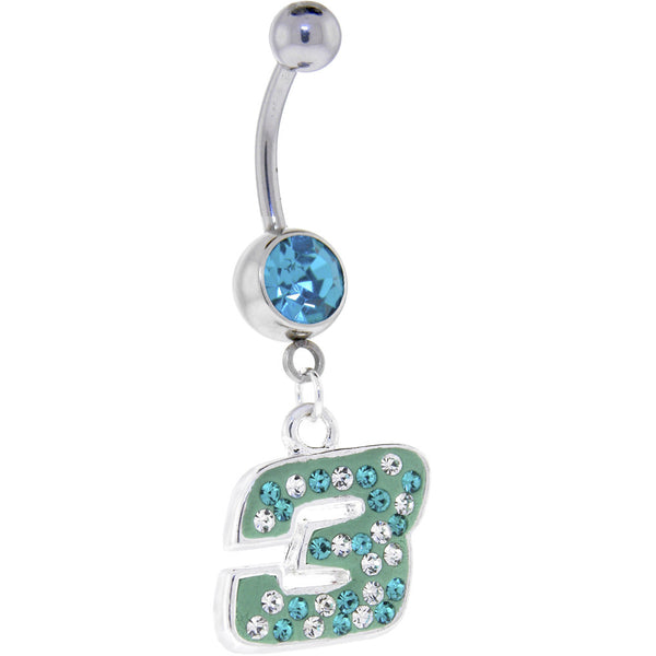 Green Blue Gem 3 Cubic Zirconia Dangle Belly Ring