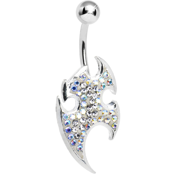 Crystalline TRIBAL BLADE Cubic Zirconia Belly Ring