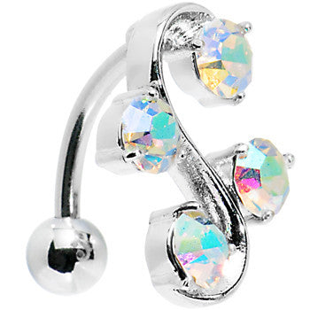 Top Mount Aurora Gem Vine Belly Ring