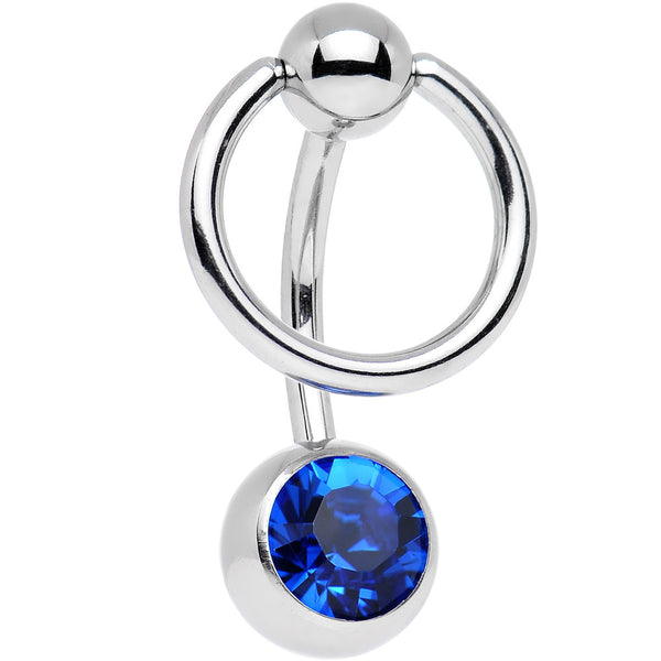 Capri Blue Enslaved BCR Belly Ring Created with Swarovski Crystals