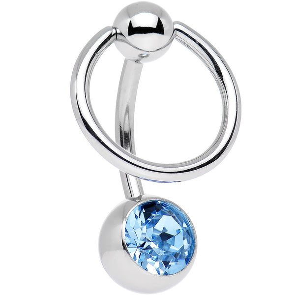 Aquamarine Enslaved BCR Belly Ring Created with Swarovski Crystals