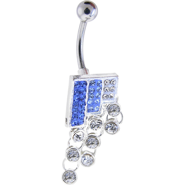 SQUARE GEM Drop Blue Austrian CRYSTAL Dangle Belly Ring