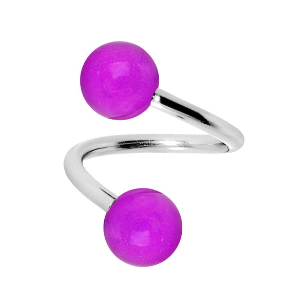 Purple Glow-In-The-Dark Spiral Twister Belly Ring