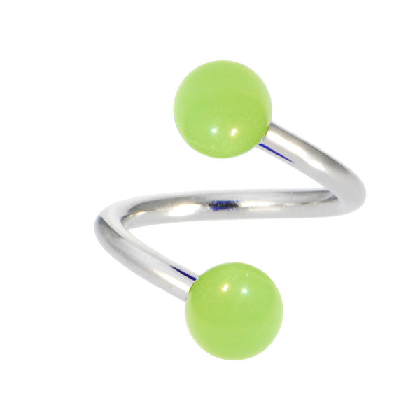 Green Glow-In-The-Dark Spiral Twister Belly Ring