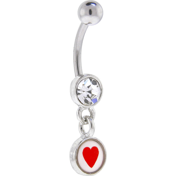 Crystalline Gem Red Heart LOGO Dangle Belly Ring