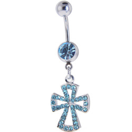 Solar Blue ADORNED JEWELED CROSS