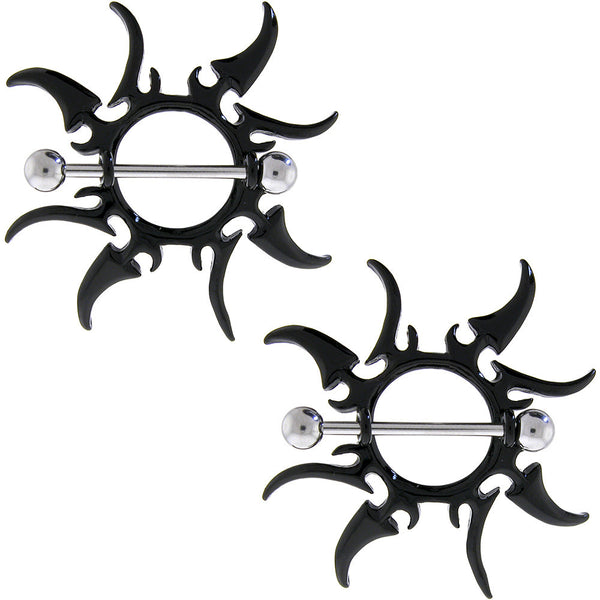 Black Tribal Sun Blade Nipple Shield Set