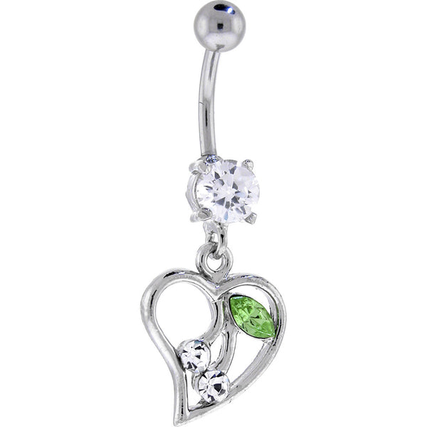 Crystal Cubic Zirconia Cherry Heart Dangle Belly Ring