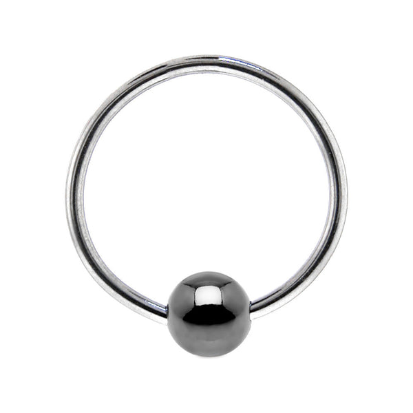 "18 Gauge BCR Hematite Captive Ring 1/2"" 4mm"