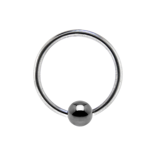 18 Gauge BCR Hematite Captive Ring 3/8 3mm
