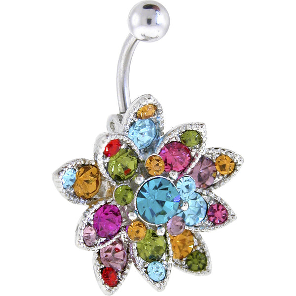 Multi-Color Austrian Crystal Petals Belly Ring