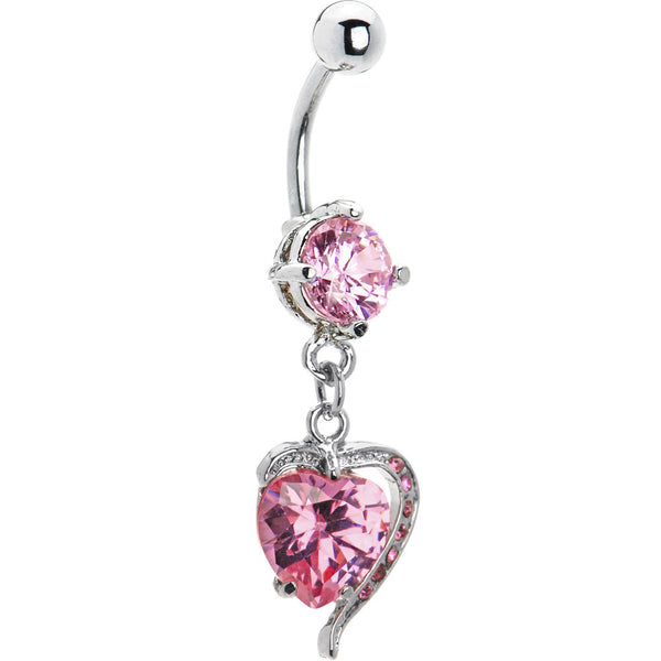 Pink Cubic Zirconia Heart Frenzy Dangle Belly Ring