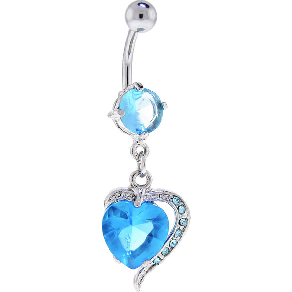 Aquamarine Cubic Zirconia Heart Frenzy Dangle Belly Ring