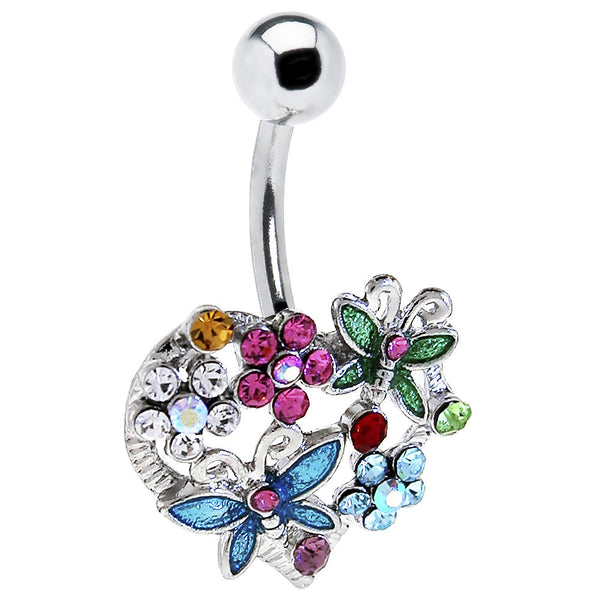 Heart Flower Butterfly Belly Ring