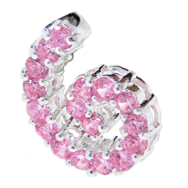 Sterling Silver 925 PINK Cubic Zirconia COIL Pendant
