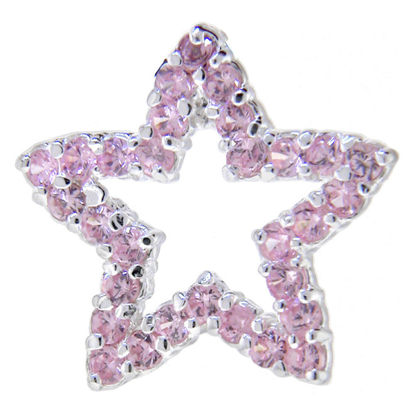 Sterling Silver 925 PINK Cubic Zirconia HOLLOW STAR Pendant