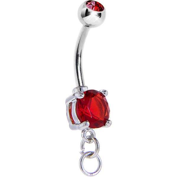 Ruby Red Double Gem Prong Set Add On Charm Belly Ring