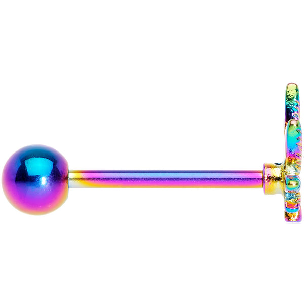 Rainbow Titanium Anodized 3-D Pot Leaf Barbell Tongue Ring