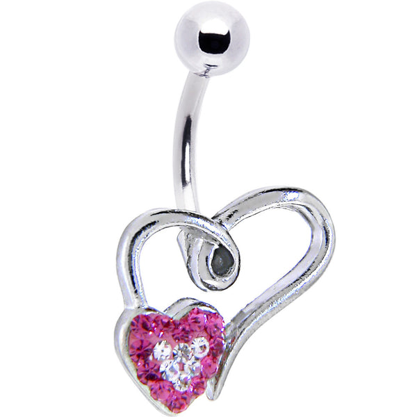 Hollow Heart Pink Clear Gem Heart Belly Ring