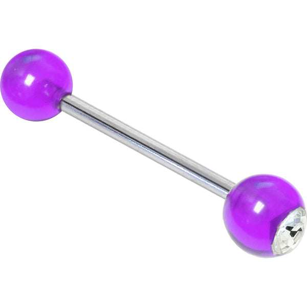 Crystalline Gem Magenta Magic Barbell Tongue Ring