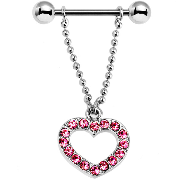 Passion Pink Paved Gem Heart Dangle Nipple Shield
