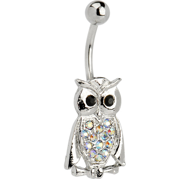 Aurora Jeweled Owl Belly Ring