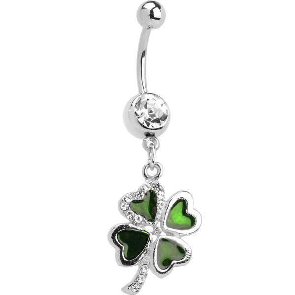 Crystalline Gem Lucky 4 Leaf Clover Dangle Belly Ring