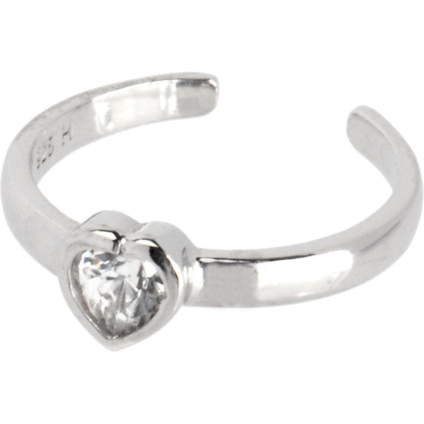 Sterling Silver 925 Cubic Zirconia Heart Toe Ring