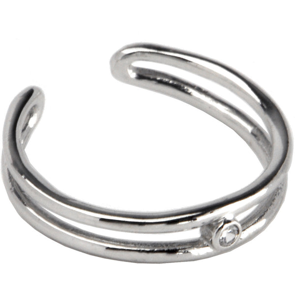 Sterling Silver 925 Cubic Zirconia Duo Band Toe Ring