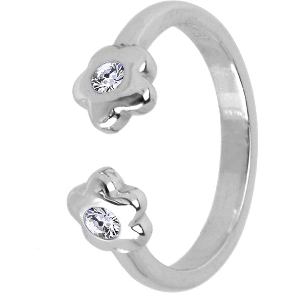 Sterling Silver 925 Cubic Zirconia Paved Flower Toe Ring