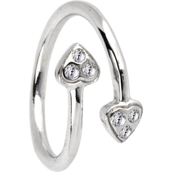 Sterling Silver 925 Cubic Zirconia Paved Heart Toe Ring