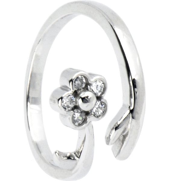 Sterling Silver 925 Cubic Zirconia Flower Vine Toe Ring