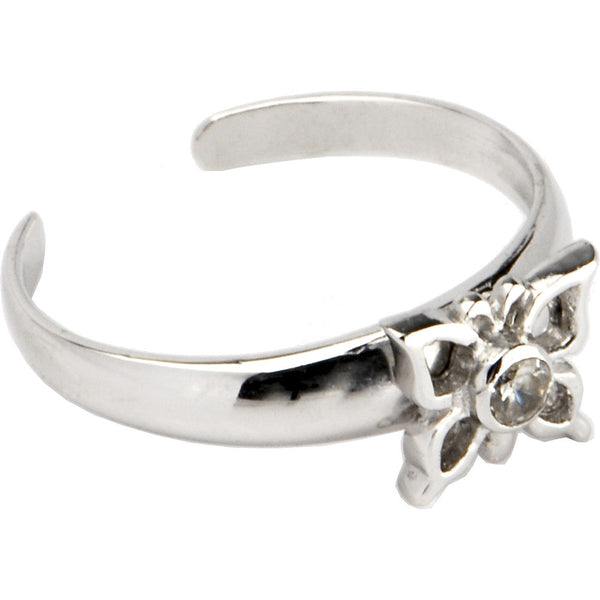 Sterling Silver 925 Cubic Zirconia Moving Butterfly Toe Ring