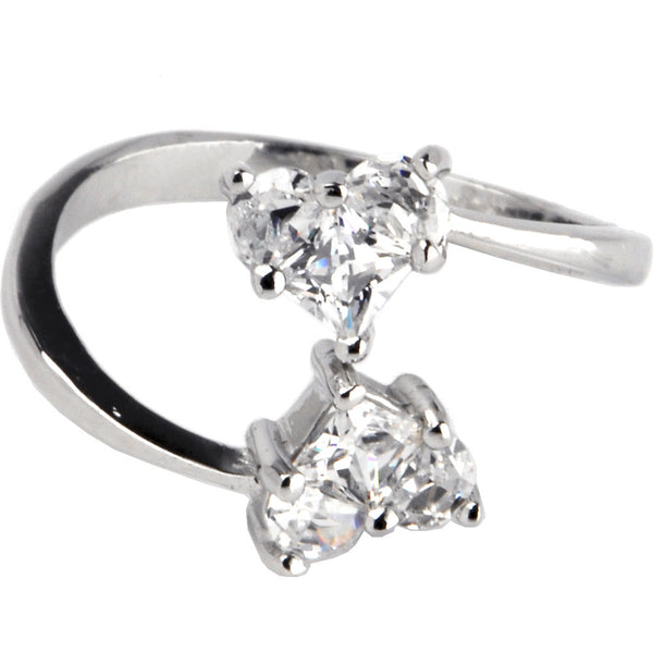 Sterling Silver 925 Cubic Zirconia Solitaire Heart Toe Ring