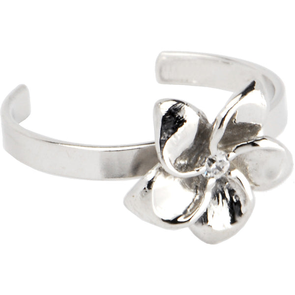Sterling Silver 925 Cubic Zirconia Flower Bloom Toe Ring