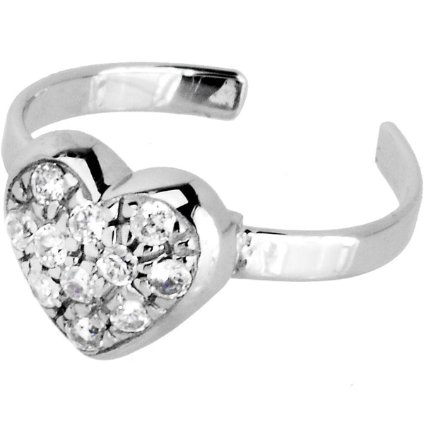 Sterling Silver 925 Cubic Zirconia Encrusted Heart Toe Ring