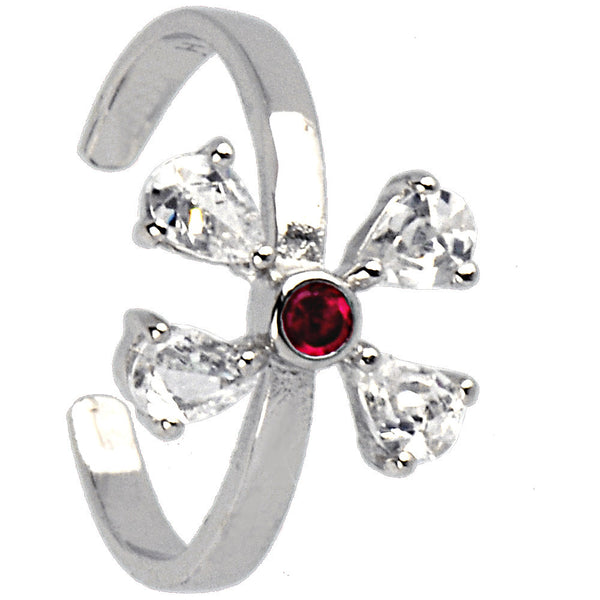 Sterling Silver 925 Cubic Zirconia Ruby Red Butterfly Toe Ring
