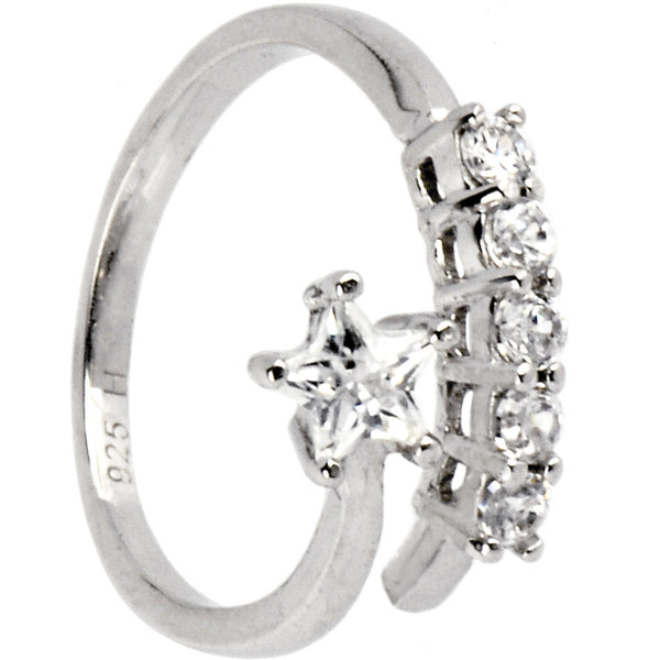 Sterling Silver 925 Cubic Zirconia Jeweled Star Toe Ring