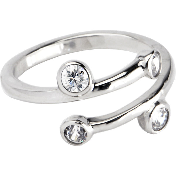 Sterling Silver 925 Cubic Zirconia Spiral Toe Ring