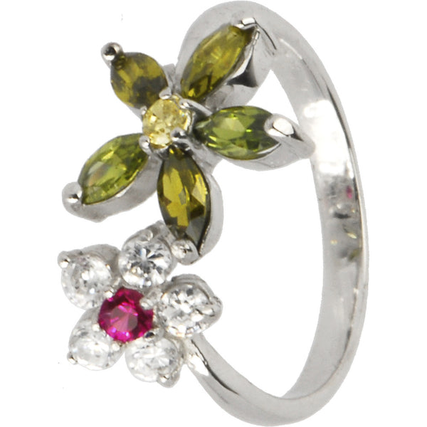 Sterling Silver 925 Cubic Zirconia Flower Petals Toe Ring