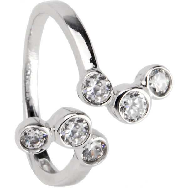 Sterling Silver 925 Cubic Zirconia Bubbles toe Ring